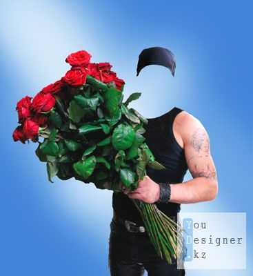 Шаблон для фотомонтажа - Парень с цветами