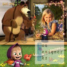 Детская фоторамка с героями Маша и Медведь - Петушок - леденец
