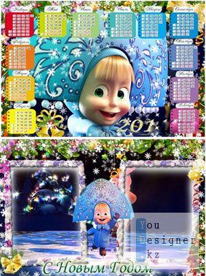 Детские новогодние рамочка и календарь на 2011 - Маша и медведь