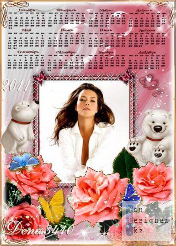 Календарь с рамкой для фото - Медвежата в розах