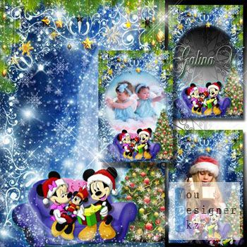 Рамка с Микки и Минни - Подарок под Новый год / Frame with Mickey and Minnie - presents for New year
