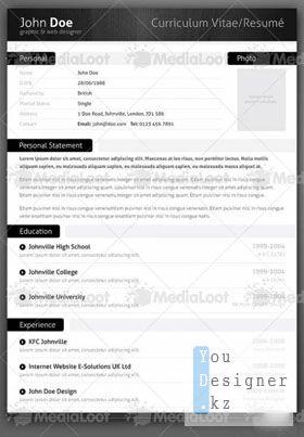 Шаблон резюме - Modern CV Resume Template