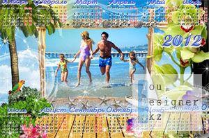 Морской календарь на 2012 год для фотошопа / The marine calendar for 2012 for photoshop