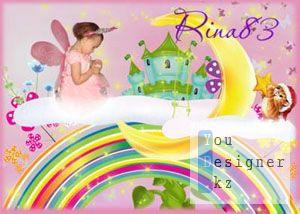 PSD исходник для детского фотоколлажа / PSD template for children photo collage