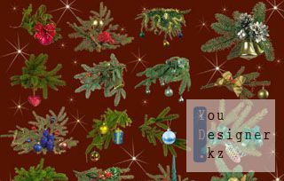 Клипарт для фотошопа – Веточки елки с игрушками / Clipart for photoshop - Branches of a christmas tree with toys