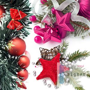 UHQ Stock Photo - Xmas Coomposition with fir branches