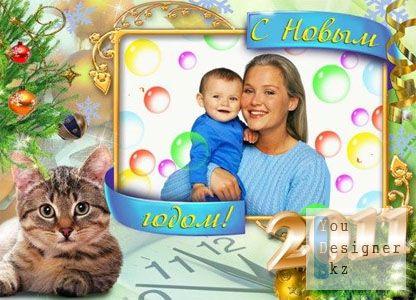 Рамка для фото - Новогодний котёнок