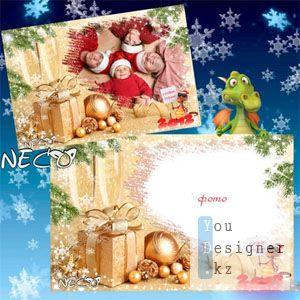 Новогодняя рамка - Новый год с драконом / Christmas frame - the New year with a dragon