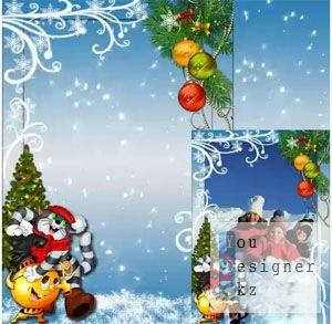 Новогодняя рамка для детей - Зима в Простоквашино / Christmas frame for children