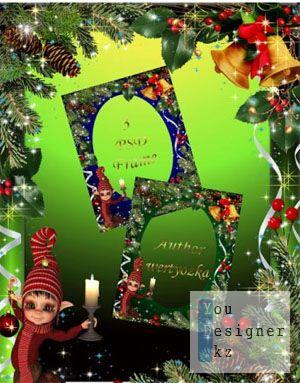 Новогодняя рамка для фото - Сказочный эльф в сосновых шишках /Christmas frame for photo - Fairy elf in pine cones