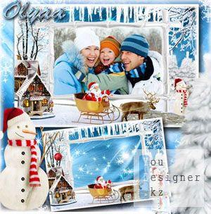 Новогодняя рамка для фотошоп - В гостях у Санты / Christmas frame for photoshop - visiting THE Santa