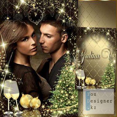 Новогодняя рамка - Волшебный праздник в золотом обличии / Christmas frame - a Magic holiday in guise of gold