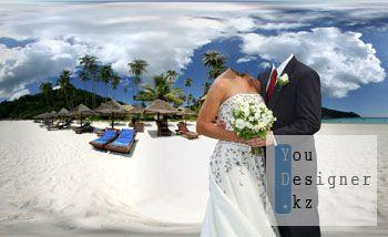 Шаблон для фотомонтажа-Пара на пляжу / Template for the photomontage-Couple on the beach