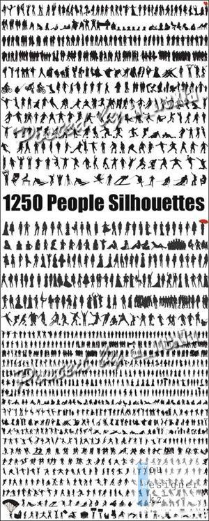 Векторный сток - Силуэты людей / People Silhouettes Vector stock