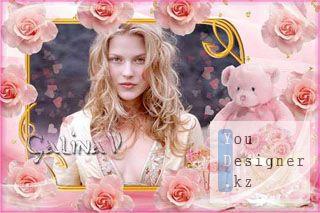 Рамка для поздравлений - Плюшевый мишка в розовых розах / Frame for congratulations - Teddy bear in pink roses