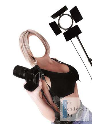 Женский шаблон для фотомонтажа - Девушка с фотоаппаратом / Template for photomontage - Girl with camera