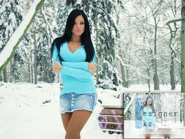Шаблон для фотомонтажа - холодно зимой одной / Template for photomontage - it's cold in winter when you are one