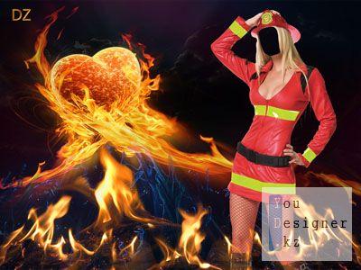 Потуши пожар в моем сердце - шаблон для фотомонтажа