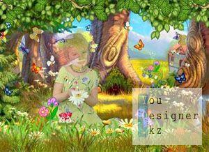 Шаблон для Фотошоп-Волшебная полянка