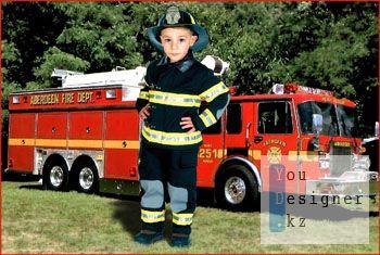 Детский шаблон для фотомонтажа - Пожарный / Children's template for the photomontage - Fireman