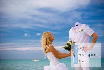 Мужской шаблон для фотомонтажа - предложение на берегу моря / Male template for photomontage - proposal a seashore
