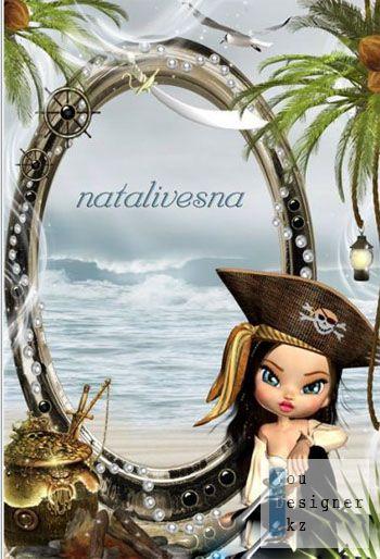 Рамка детская для Photoshop – Юная пиратка на берегу моря / Children photo frame - Young pirate near sea shore