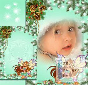 Рамка для девочек с Флорой - Винкс поздравляют с Новым годом / The frame for girls with Flora - Winx congratulate with New year