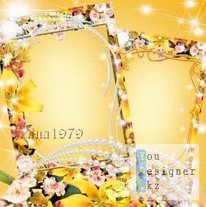 Рамка для фото - Лилии, розы, золото и жемчуг
