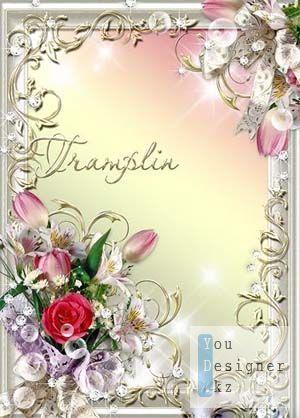 Рамка для фото – Роза, тюльпаны и лилии