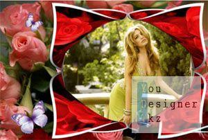 Рамка для фото - Розы с бабочками / Photo frame - Roses with butterflies