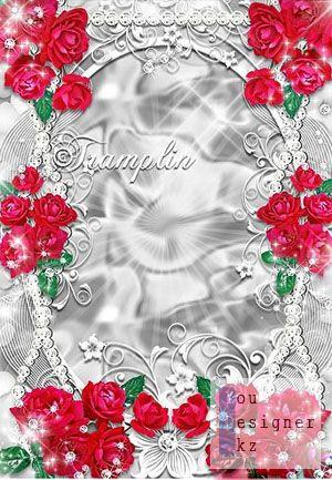Рамка для фото – Улыбки свежей серебро, румянец красных роз / Photo frame - sliver smile, redness of roses