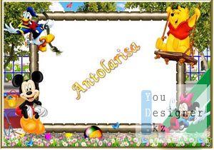 Рамка для фото- На дет.площадке с героями Диснея / Photo frame- By дет.площадке with Disney characters