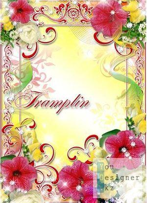 Рамка для фото с цветами – Он чашечки цветов дыханием лелеет / Photo frame with flowers