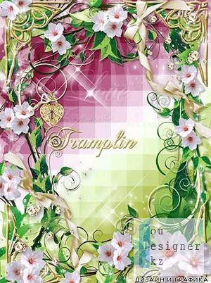 Photo frame with flowers and ribbons - take care of love, it's like fragile flower