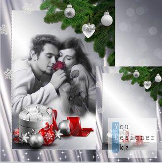 Рамка для фото в серебрянном стиле - Скоро Новый год / Photo frame in silver style