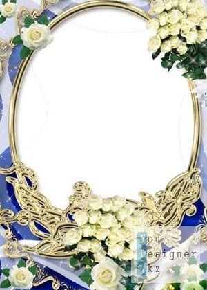 Рамка для фото-Кремовые розы