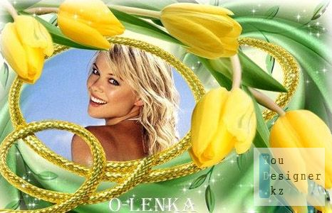 Рамка для фотошопа - Желтые тюльпаны