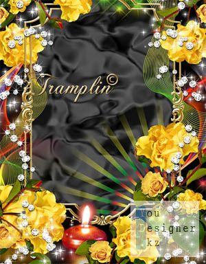 Рамка для Photoshop – Розы, свеча, алмазы