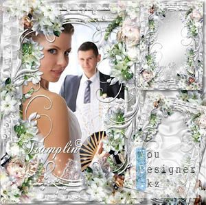 Frame for Photoshop with white flowers