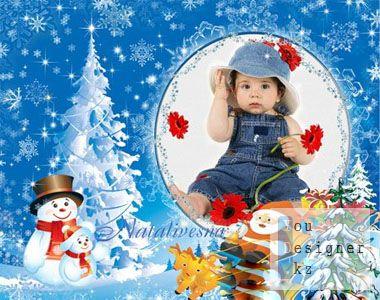 Рамка детская для Photoshop – Снеговички