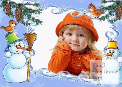 Детская рамка для фото со снеговиками