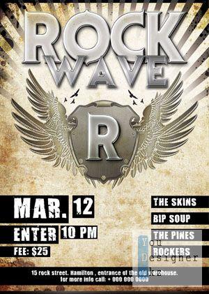 Шаблон для флаера Рок Концерта / Rock Party Concert Flyer Template