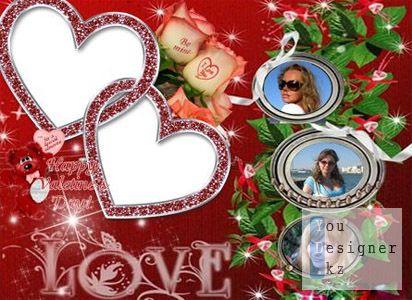 Романтическая рамка ко дню влюблённых - Люблю
