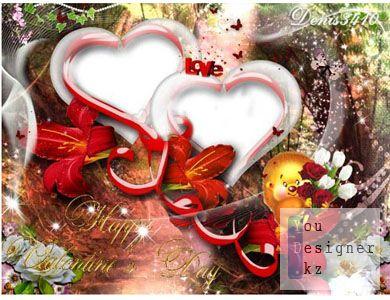 Романтическая рамочка ко Дню Валентина - Веселый ежик с букетом