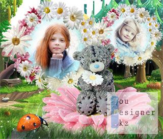 Рамка для фото - ромашки и мишка Тедди / The frame for the photo - flowers and teddy bear
