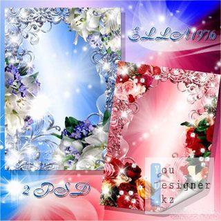 Две цветочные рамки для фотошоп - Розовая и голубая