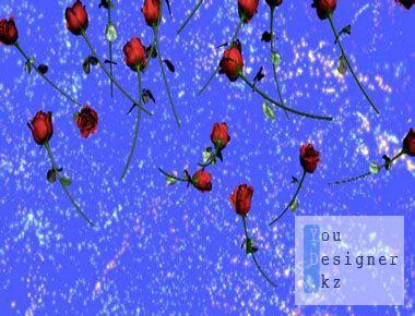 Футаж - Падающие розы с фейерверком / Footage - Falling Rose with fireworks