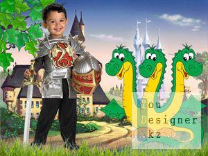 Детский шаблон для фотомонтожа - Рыцарь малыш / Children's template for photomontage - the Knight