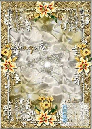 Рамка для фото с лилиями - Они творенье красоты / Photo frame with lilies - They are creation of beauty