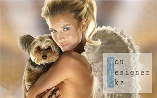 Шаблон для фотошопа- Блондинка с собачкой / Template for photoshop- Blonde girl with a dog
